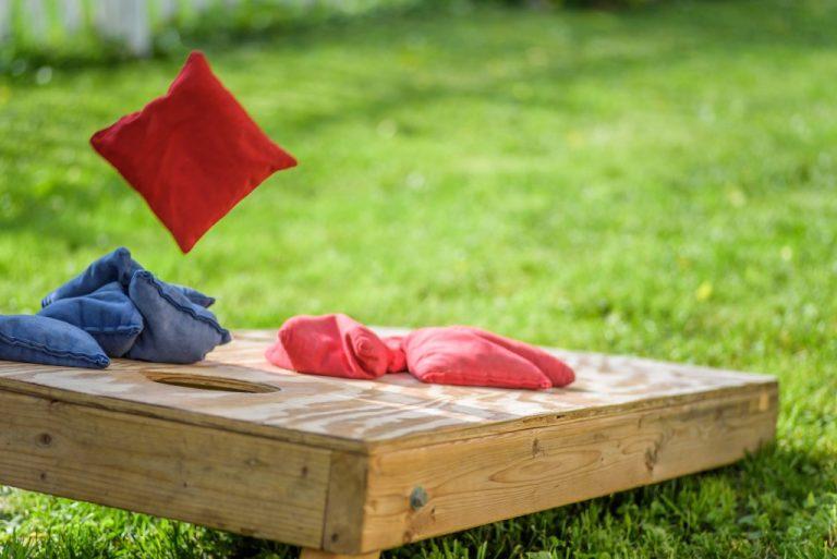 Cornhole board at the backyard