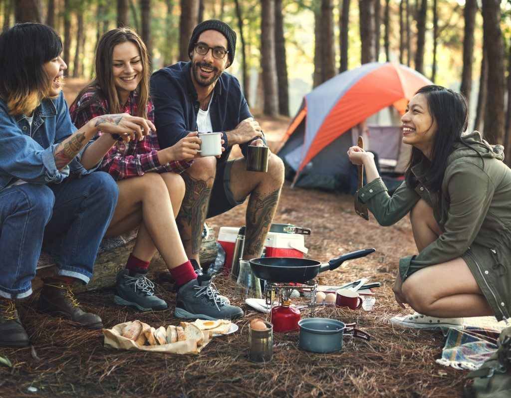 Friends Camping Eating Food