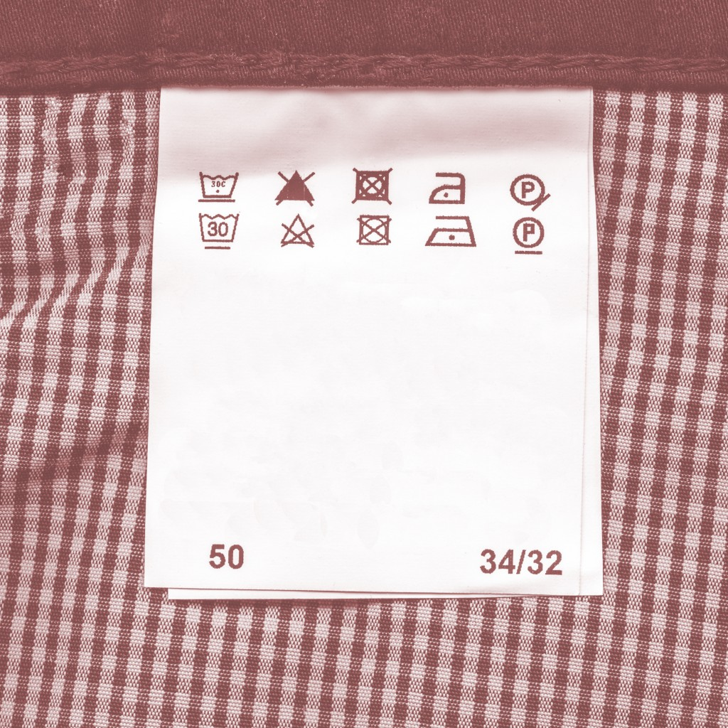 laundry and care tag of a clothe