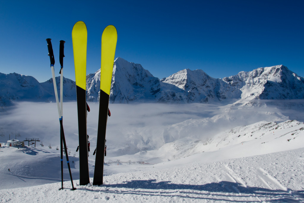 skiing equipment on snow
