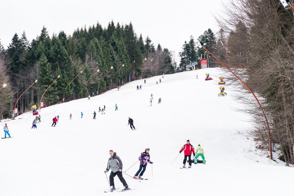 people skiing downhill